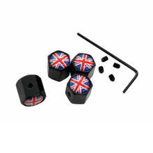 4Pcs/Set UK Englad Flag Theftproof Stainless Steel Black Wheel Tire Valve Stem Air Caps Auto Styling For MINI Jaguar Land Rover(China)