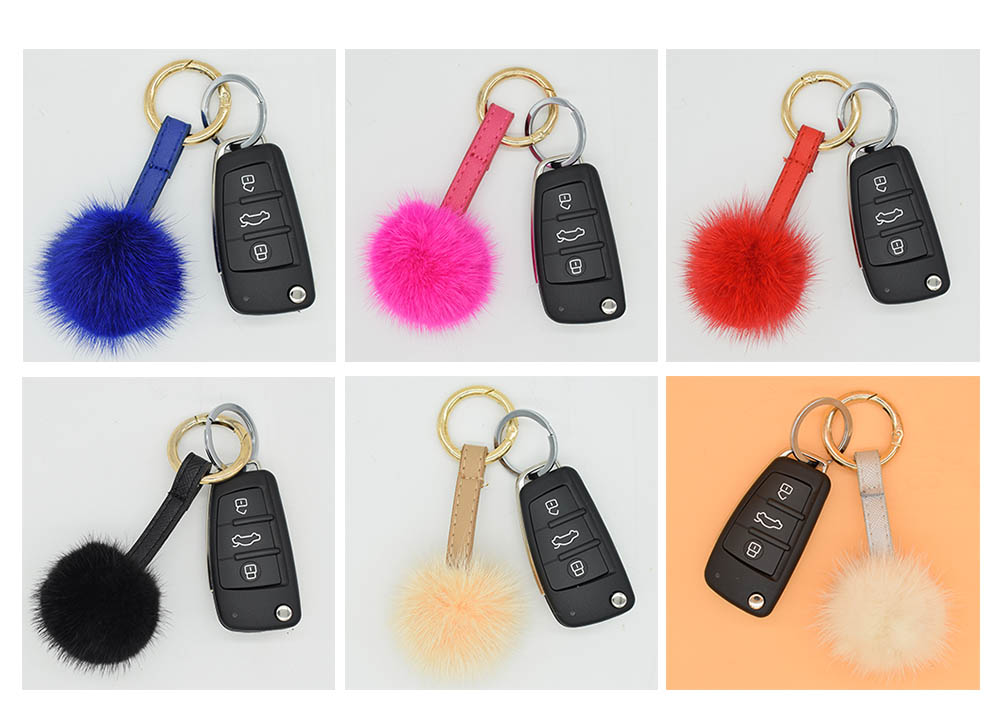 mink fur ball keychain colors 2