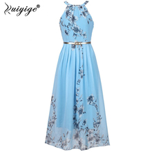 Buy Ruiyige Floral print halter chiffon long dress Women ties back 2018 boho maxi dresses vestidos Sexy beach summer dress