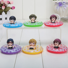 6pcs/set 5cm PVC anime free! Iwatobi Swim Club Rin Macoto Haruka Nanase Rei action figures Collectible Model