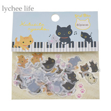 Lychee 1 Pack Cute Cat Kutusita Nyanko Sticker DIY Diary Sticker Decoration Kawaii Korea Stationery Sticker(China)