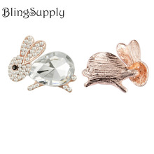 Free shipping 26mm rhinestone rabbit bunny button for Easter Day 10PCS/LOT(BTN-5428)(China)