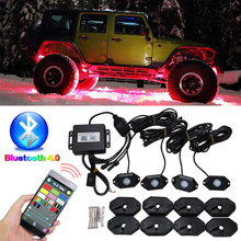 1 Set  IP68 9W RGB Rock Light Kit Under Car LED Chips Truck Vehicle Crawler Light Bluetooth For Offroad SUV 4WD ATV DC 10-30V