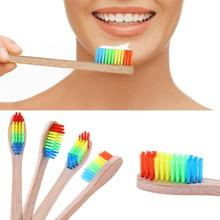 Colorful Head Bamboo Toothbrush Baby Kids Wooden Rainbow Bamboo Toothbrush Oral Care Soft Bristle(China)