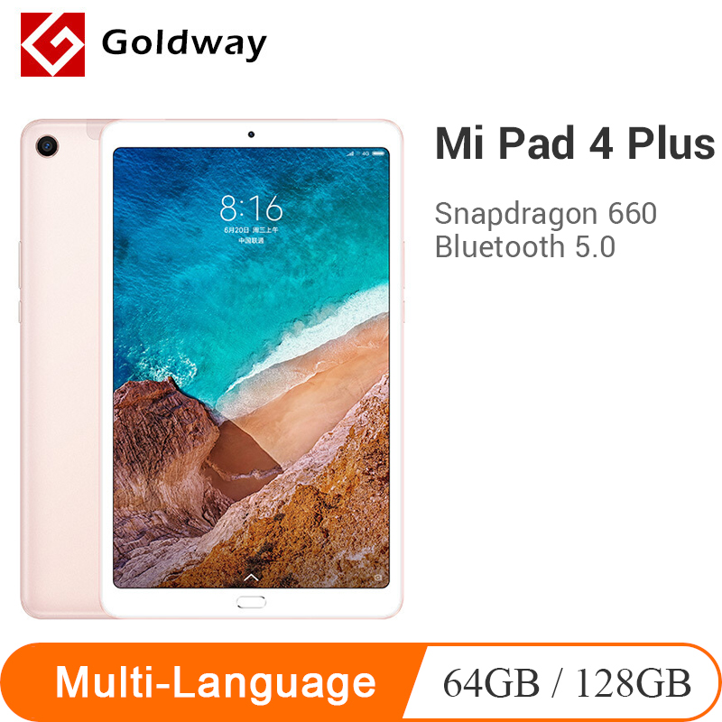 New Original Xiaomi Mi Pad 4 Plus 64GB/128GB Tablets 4 Snapdragon 660 AIE CPU 10.1'' 16:10 Screen Tablet 13MP 8620mAh Mi Pad 4(Hong Kong,China)