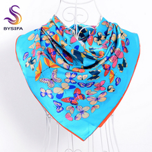 Female Blue Butterfly Silk Scarf Cape New Design 100% Silk Square Scarves Wraps 90*90cm Muslim Ladies Head Scarf Shawl Cachecois