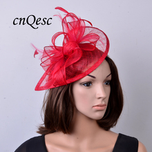 2017 NEW colour Red  Feather sinamay fascinator hat for Wedding,Ascot Races,Party,Kentucky Derby,Melbourne Cup.FREE SHIPPING.