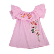 summer 1-5 years old child clothes Cute girl Pink Floral dress baby off shoulder cotton dresses children clothing kids dress