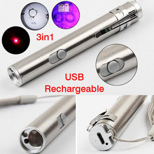 3 in1 500LM Mini Aluminium Alloy USB Rechargeable LED Laser & UV Torch Pen & Flashlight Multifunction Lamp --M25(China)