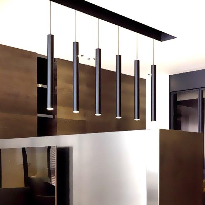 6CM diameter Black LED lamp chandelier creative long cylindrical hotel restaurant bar sets jewelry showcase single head lamps <br>