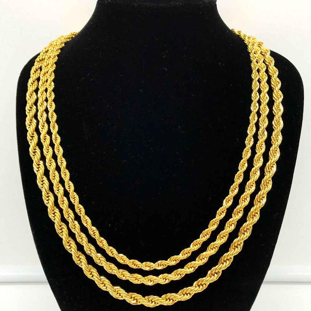 Luxury 24K Gold Filled Solid Twisted Chain Men Women Jewelry Fashion Punk Style  5MM 6MM 7MM de885e3b944d