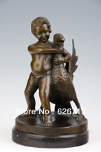 ATLIE BRONZES handmade casting bronze Boy holding goose kid statues sculptures art collection famous artworks(China)