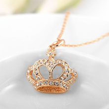 New Design Crystal Crown Rose Gold Necklace Pendant Choker Wedding Party Accessory P30(China)