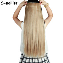 light ash brown mix bleach blonde Long 66CM Straight Clip in 3/4 Full Head Hair Extensions Real Thick Synthetic Hair Extentions(China)