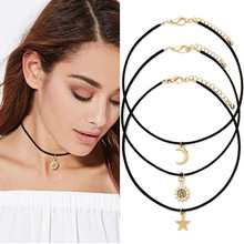 N109 3pcs Star Moon Sun Chokers Necklaces Pendants Maxi Necklace Sets For Women Black Velvet Steampunk Colar One Direction 2017(China)