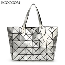 Women Diamond Lattice Bag Lady Geometry Package Sequins Mirror Saser Plain Split Joint Mujer Mosaic Top Handle Tote Shoulder Bag