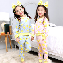 Girl Home Furnishing Serve Spring Pure Cotton Korean Foreign Trade New Pattern Cartoon Duckling Pajamas Suit  2 Pieces Kids