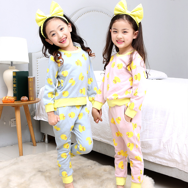 Girl Home Furnishing Serve Spring Pure Cotton Korean Foreign Trade New Pattern Cartoon Duckling Pajamas Suit  2 Pieces Kids<br>