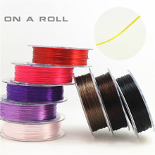 0.5mm wide flat shape Crystal elastic line Jewelry Making Cord DIY Accessories Handmade Bracelets  16 color 45m/roll