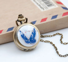 100pcs/lot Wholesale New enamel Butterfly Pocket Watch Necklace Vintage Jewelry Wholesale Korean Sweater chain Gift Watches