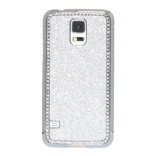 Glitter Bling Crystal Rhinestone and Brushed Chrome Bumper Hard Plastic Case for Samsung Galaxy S5(Silver)(China)
