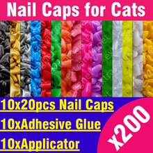 200pcs - Soft Nail Caps for Cats + 10x Adhesive Glue + 10x Applicator /* XS, S, M, L, paw, claw, cover, lot, cat */(China)