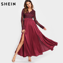 SHEIN A Line Party Dress Burgundy M-Slit Front Mixed Media Swing Dress V Neck Long Sleeve Fit and Flare High Waist Maxi Dress(China)