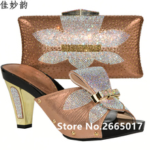 New Arrival Peach Color Italian Shoes and Bag Set Decorated with Rhinestone Nigerian Shoes and Bag Set African Party Shoes Bag