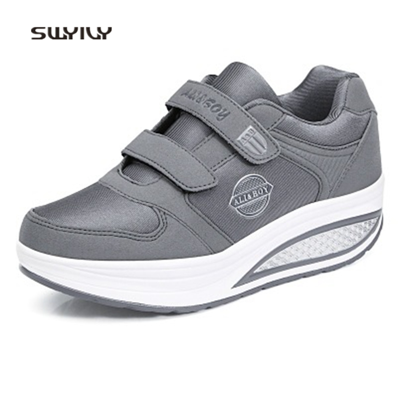 SWYIVY Women Toning Shoes Hook&Loop Light Swing Sneakers For Female 2018 Soft Heel Non-slip Women Slimming Shoes Lose Weight