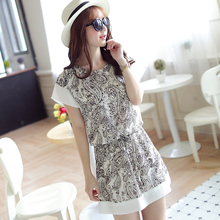 2015 women's slim waist patchwork print chiffon one-piece dress cheap clothes china women dress Fashion sexy Discount promotion(China)