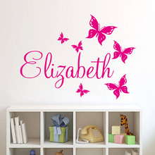 Personalize Wall Sticker Butterflies Vinyl Art Decals Customized Name Wall Stickers For Bedroom Decor(China)