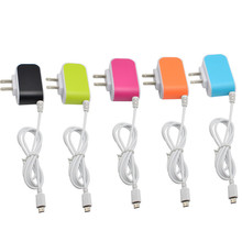 5V 3.1A US Plug 3USB Candy Color Glow Charger  Intelligent Travel Charger for Samsung Huawei Xiaomi Charger with Micro USB Cable