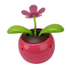 NOCM Hot Car Rose-red Cute Flip Flap Swing Solar Flower(China)