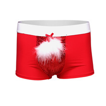 2017 New Year Christmas Underwear Men's Boxer Shorts Feather+Bead Piece Have S-XL red Color Sexy Men Halloween Costumes(China)