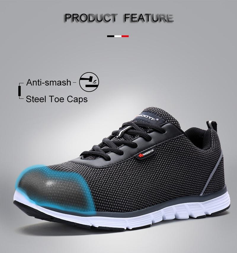 MODYF Men Safety Steel Toe Work Shoes Lightweight Breathable Casual Footwear 6