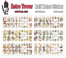 6 Sheets/Lot Art Nail HOT346-351 Retro Tower Full Cover Nail Film Nail Art Water Sticker Decal For Nail Art (6 DESIGNS IN 1)(China)