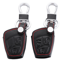 leather key holder cover wallet set bag keyring for Mercedes benz Class A C E S ML CLK SLK Old fob remote accessories