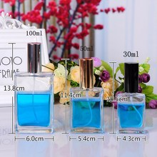 30ML/50ML/100ML Square Transparent Glass Jar Perfume Fine Mist Spray Bottle Empty Cosmetic Bottle 30PCS/LOT(China)