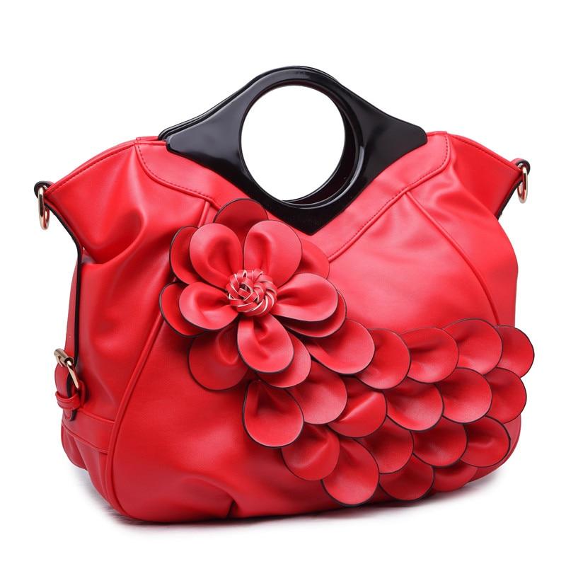 QIAODUO New Peacock flower Women Handbags Red Bridal Wooden Handbag Handles PU Leather Bag Women Crossbody Big Bags Female<br>