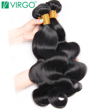 Body Wave Bundles Raw Indian Human Hair Weave Bundle 1 Pc Virgo Non Remy Hair Extensions 1B Natural Hair Can Be Dyed Restyled(China)