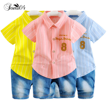 Baby Boy Summer Cool Clothing Sets 2018 Fashion Infant Kids Set Suit Toddler Boys Demin Shorts Pants + t shirt 1 2 3 Years 2pcs(China)