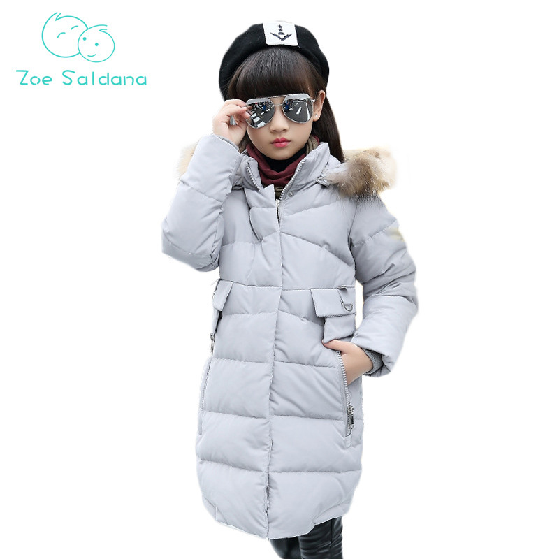 Zoe Saldana Girls Jackets 2017 New Winter Baby Girl Clothes Casual Solid Warm Parkas Teenager Thicken Fur Hooded Long CoatsÎäåæäà è àêñåññóàðû<br><br>