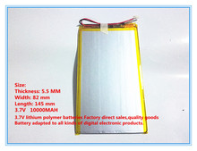 Free shipping 3.7 V 10000 mah tablet battery brand tablet gm lithium polymer battery 5582145(China)