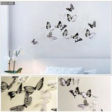 18pcs/lot creative 3D butterfly stickers pvc removable wall decor art diy bedroom living room christmas wedding decorations kids(China)