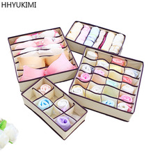 HHYUKIMI 4PCS/Set Foldable Storage Bins Container Drawer Divider Boxes Lidded Closet Ties Socks Bra Underwear Home Organizer(China)