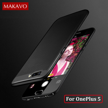 MAKAVO For OnePlus One Plus 5 Case 360 Protection Hollow Grid Matte Hard Cover For A5000 Phone Cases