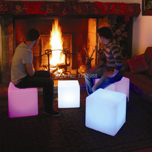 2015 free shipping 50cm LED cube chair for outdoor party/Led Glow Cube Stools Led Luminous Light Bar Stool Color Changeable(China)