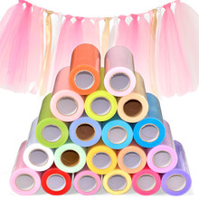 Tulle Roll 15cm 25 Yards Wedding Organza Table Runners Decoration Yarn Gauze Element Banquet Bow Decoration Marriage Favors(China)