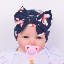 Cute Newborn Baby Girls Flower Bowknot Beanies Hat Comfortably Hospital Caps 2017 Hot Sale(China)