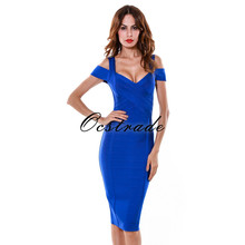 2016 New Arrivals High Quality Aqua Blue Nude Women Strappy Rayon Bandage Dress Knee Length Wholesale HL(China)